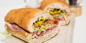 A close-up photograph of a delicious Italian sub.